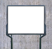Large blank, empty, white billboard screen on concrete wall Royalty Free Stock Image