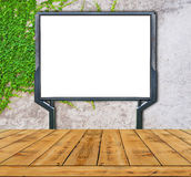 Large blank, empty, white billboard screen on ivy wall Stock Photos