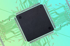Large Blank Integrated Circuit with Connections on Colorful Background Stock Photography