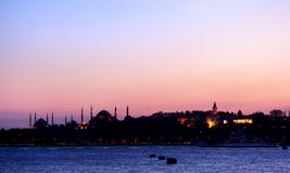 Large blank sky over Istanbul. Sunset in Istanbul with Blue Mosque, St. Sophia and Topkapi Palace Royalty Free Stock Image