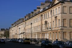 Large block of old buildings in Bath, England. Royalty Free Stock Images