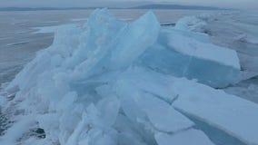 Large blocks of ice crack stock video