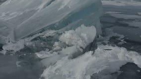 Large blocks of ice crack stock footage