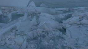 Large blocks of ice crack. Beautiful winter Lake Baikal stock video footage