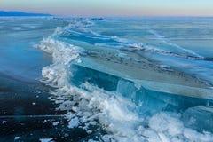 Large blocks of ice crack. Stock Images