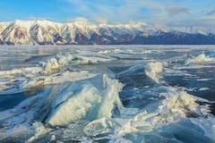 Large blocks of ice crack. Royalty Free Stock Photo