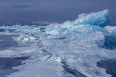 Large blocks of ice crack. Royalty Free Stock Image