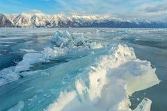Large blocks of ice crack. Stock Photos