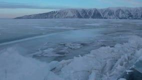 Large blocks of ice crack near Holy Nose Peninsula. Beautiful winter Lake Baikal stock footage