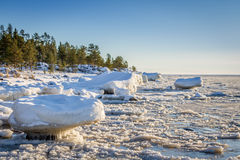 Large blocks of ice at the shores of the Baltic sea, northern Scandinavia Royalty Free Stock Image