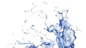 Large blue abstract water splash. Isolated on white background Stock Photography
