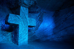 Large Blue Cross. Large blue salt cross in salt cathedral in Colombia Royalty Free Stock Images