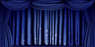Large blue curtain Royalty Free Stock Images
