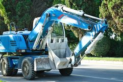 Large, blue excavator Stock Photography