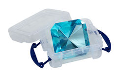 Large Blue Gem in a Plastic Crate Stock Photo