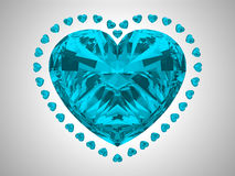 Large blue heart cut diamond Royalty Free Stock Images