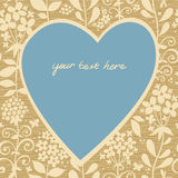 Large blue heart with flowers on a light seamless background. Place for your text. It can be used for decorating of wedding invitations, greeting cards Stock Image