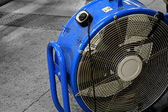 Large blue industrial sized fan. On black and white background Stock Images