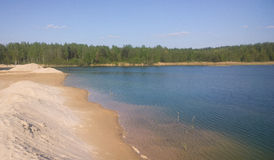 A large blue lake. Summer day. Sand dunes Royalty Free Stock Images