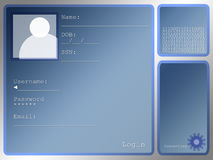 Large Blue Login Screen Layout With Portrait Box Royalty Free Stock Photography