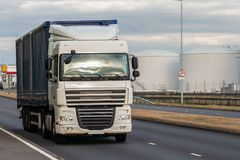 Road transport, lorry in motion royalty free stock photos