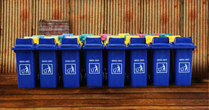 Large blue trash cans garbage bin with wheels Stock Photography