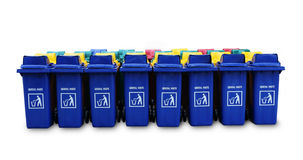 Large blue trash cans garbage bin with wheels Royalty Free Stock Photography