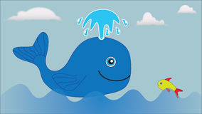 A large blue whale and a small fish float in the sea. Royalty Free Stock Photos
