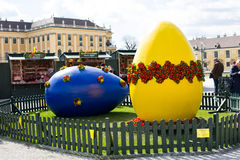 Large Blue and yellow Easter eggs at Vienna holiday market Royalty Free Stock Images