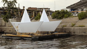Large Boat Models on the river stock video footage