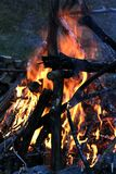 Bonfire at Dusk. Large bonfire at Dusk royalty free stock photography