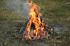 Large bonfire made of planks and sticks on the grass. Bonfire in the garden on the grass. burning planks, grass, sticks Royalty Free Stock Images