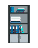 Large Bookcase with Different Books Isolated. Folders and documents ordered in bookcase. Modern office interior. Books on bookshelves. Library scene bookcase vector illustration