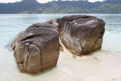 Large boulders on the beach Royalty Free Stock Images