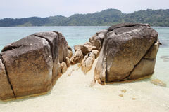 Large boulders on the beach Royalty Free Stock Image