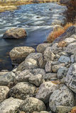 Large boulders by Salmon River. Royalty Free Stock Images