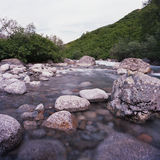 Large boulders in Upper Little Susitna river Royalty Free Stock Images