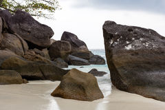 Large boulders on the white sand of the Similan Islands Royalty Free Stock Images