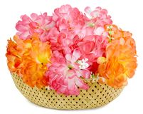 A large bouquet of artificial flowers isolated Stock Photos
