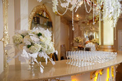Large bouquet on the bar. Large bouquet decoration flower arrangement on the bar with white flowers Stock Photography