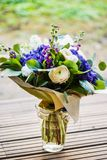A large bouquet of white and blue spring flowers Stock Images
