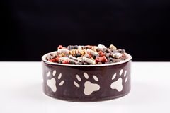 Large bowl of dog food Royalty Free Stock Photos