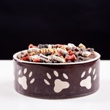 Large bowl of dog food Stock Images