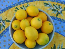 Large bowl of fresh lemons on a bright patterned cloth, evoking a Mediterranean summer Stock Photography