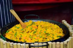Large Bowl of Paella in street Royalty Free Stock Image
