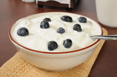Vanilla yogurt with fresh blueberries Stock Photo
