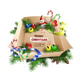 Large box of decorations. Merry Christmas. Stock Image