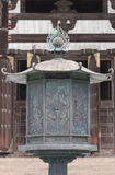 Large brass lantern in front of Todai-ji Buddhist Temple. Stock Photo