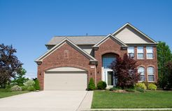 Large Brick House. A large brick house in the suburbs in Ohio royalty free stock photography