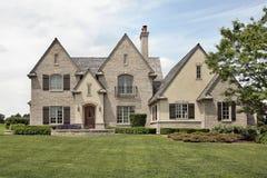 Large brick suburban home Stock Photo